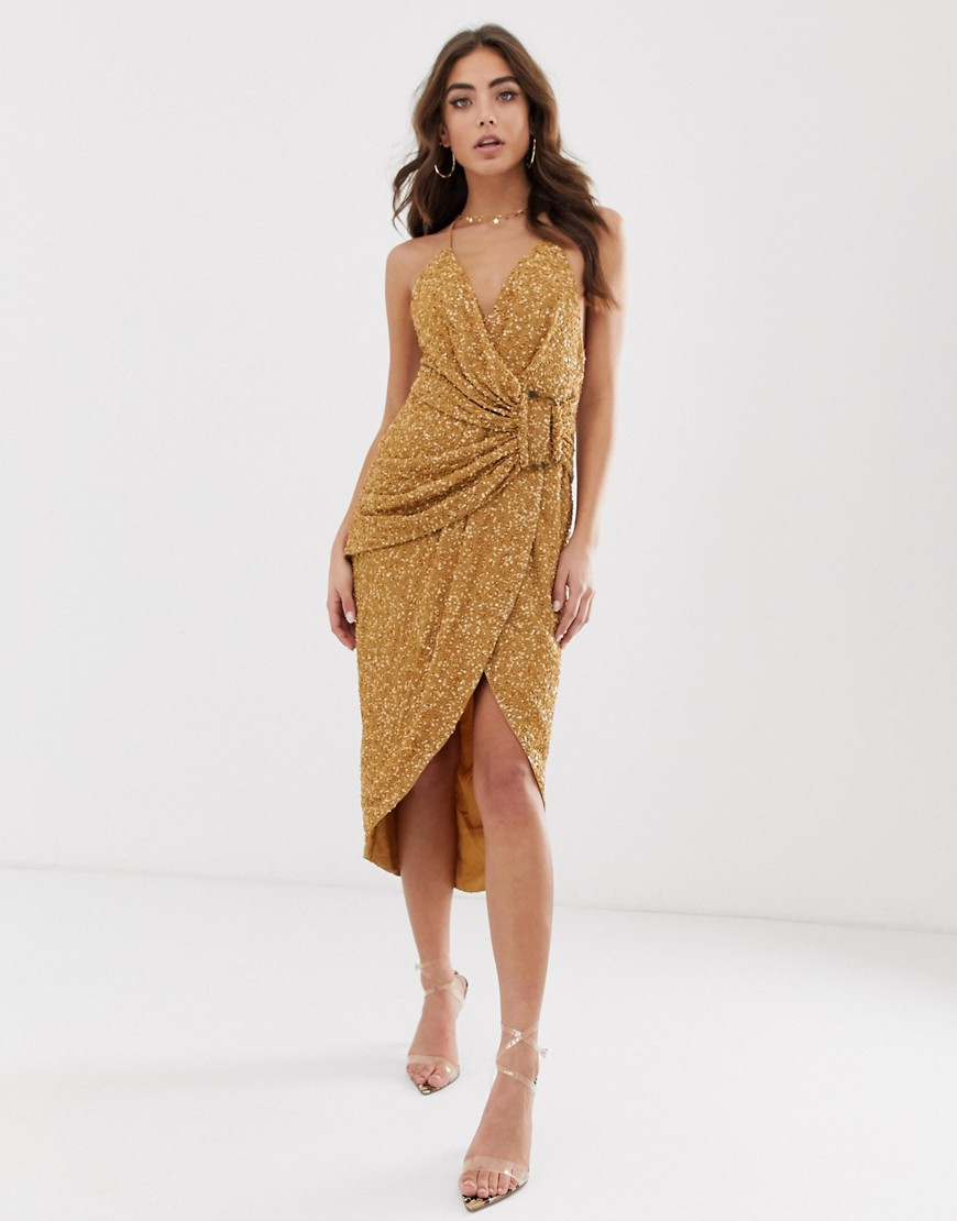ASOS DESIGN all over sequin drape midi dress with horn buckle-Brown