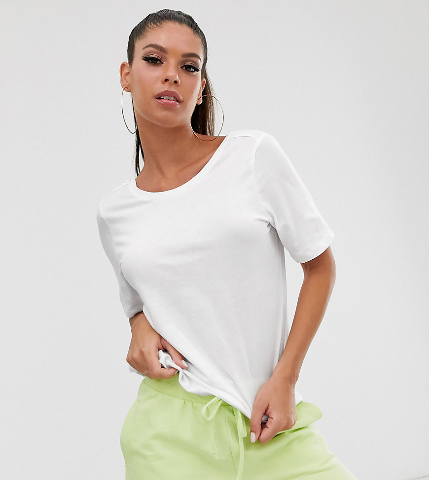 Noisy May Tall Dring short sleeve cropped t-shirt-White