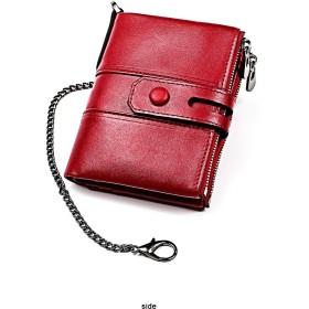 レザーチェーンウォレットバイカー・メンズ 本革の財布 80238 (赤)