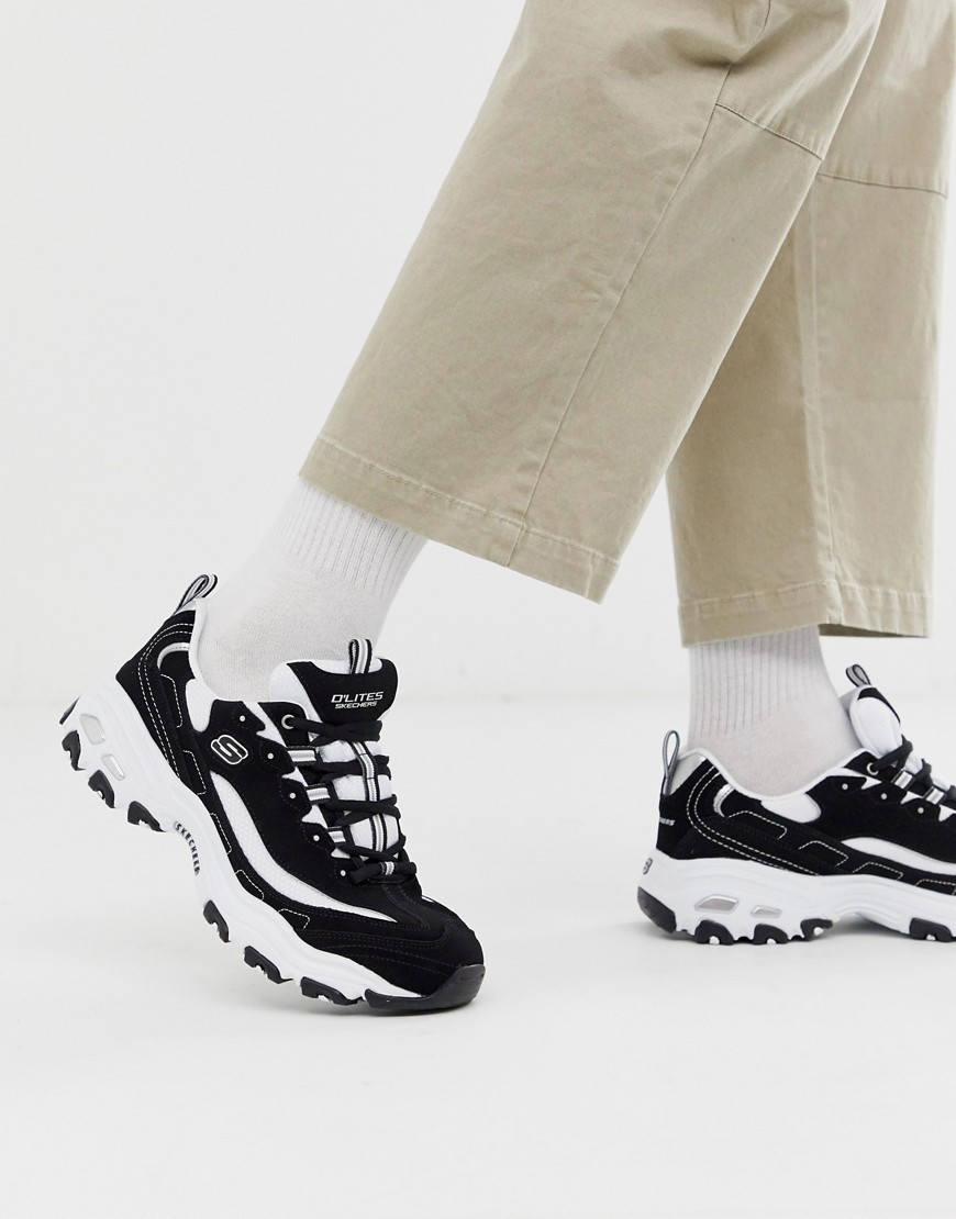 Skechers d'lites chunky trainers in black white