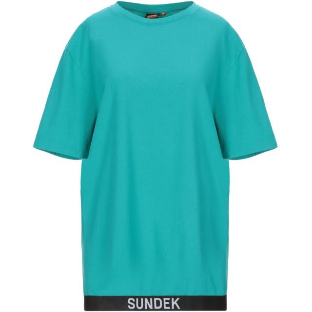 《セール開催中》SUNDEK レディース T シャツ エメラルドグリーン S コットン 100%