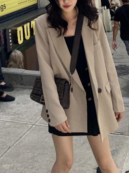 西裝外套女士2019新款秋裝網紅韓版寬鬆i復古港風氣質休閒西服ns