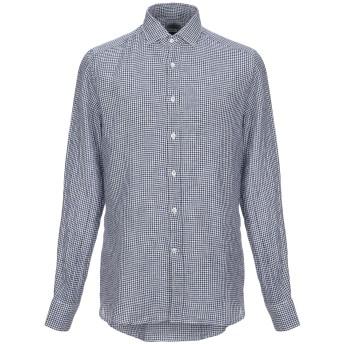 《セール開催中》BAGUTTA メンズ シャツ ダークブルー 39 麻 100%