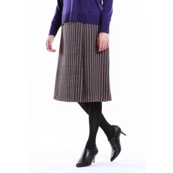 TRANS WORK 【ウォッシャブル】幾何プリントスカート その他 スカート,ブラック