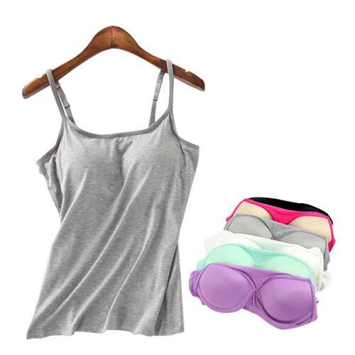 帶胸墊背心BRA背心胸罩背心 莫代爾帶胸墊T恤BRA上衣 免穿內衣【Z90825】