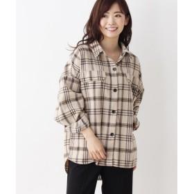 シューラルー 起毛チェックシャツジャケット レディース ベージュ(252) 00(FREE) 【SHOO・LA・RUE】