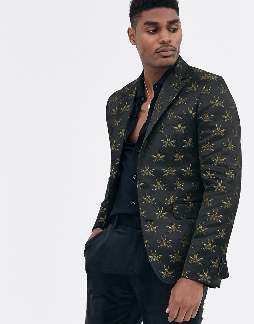 Devils Advocate skinny fit bee embroidered blazer-Black
