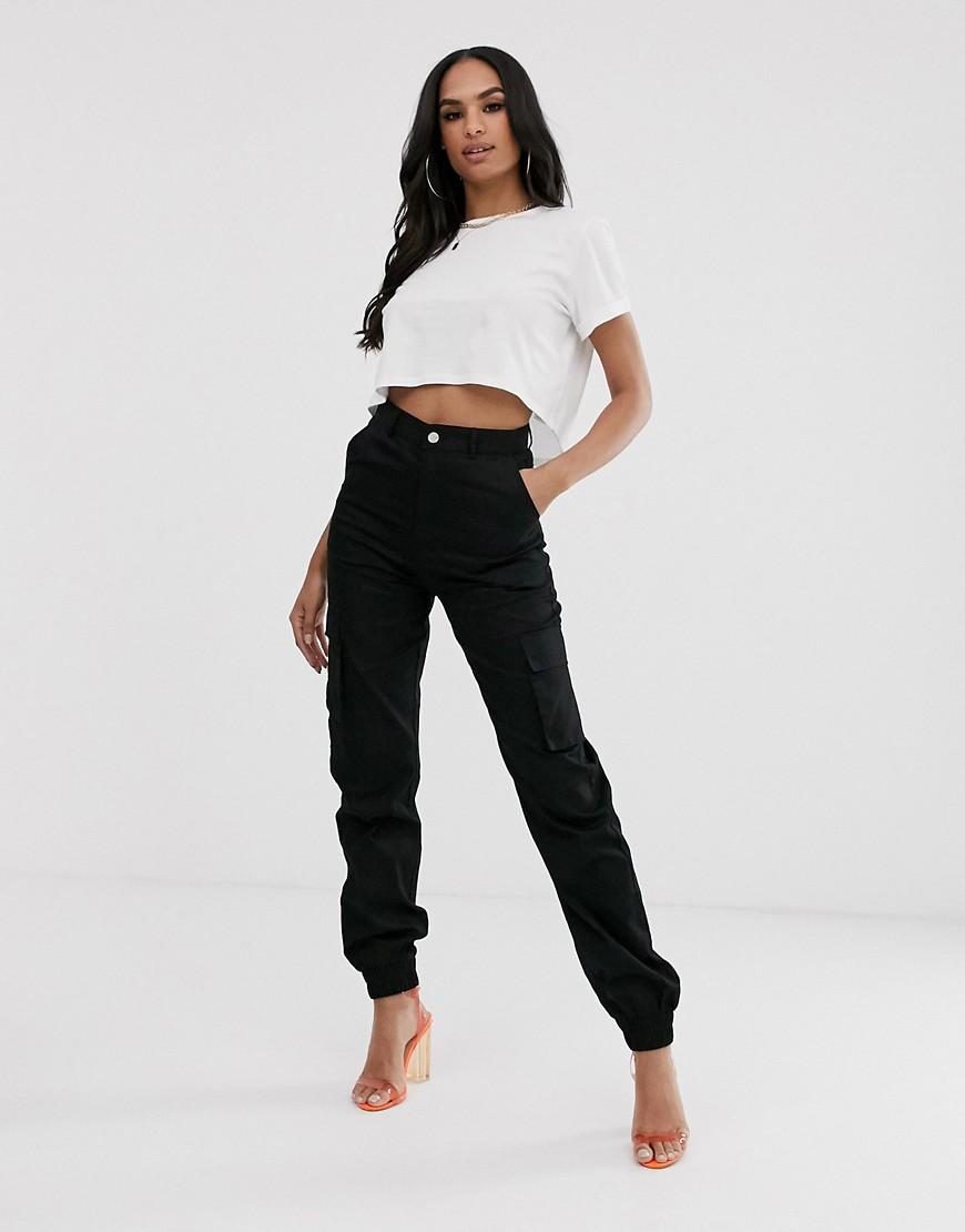 Missguided cargo trousers in black