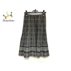 レリアン スカート サイズ11 M レディース 美品 ベージュ×黒×ライトグリーン チェック柄/ラメ 新着 20191105