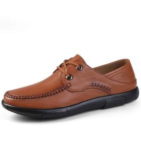[Z-JIN] ビジネスシューズ 紳士靴 メンズ 本革 ストレートチップ メンズフォーマルシューズオックスフォードシューズレースアップスタイルOXレザーシンプルロートップライト級 通気 保護耐摩耗 滑り止め (Color : Red Brown, サイズ : 24.5 CM)