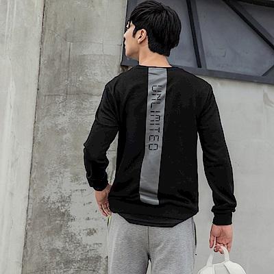 韓風簡約圓領字母印花衛衣上衣-OB大尺碼