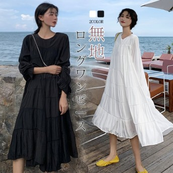 韓国ファッション!無地シフォンガウンワンピース ロングワンピース