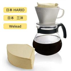 Hario  Welead 4人份 陶瓷玻璃濾杯組(附贈 日本三洋102濾紙 100入)