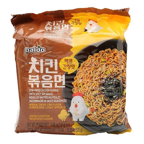 Paldo  韓國 八道 鐵板辣雞炒麵 醬油風味(130gX4)【庫奇小舖】