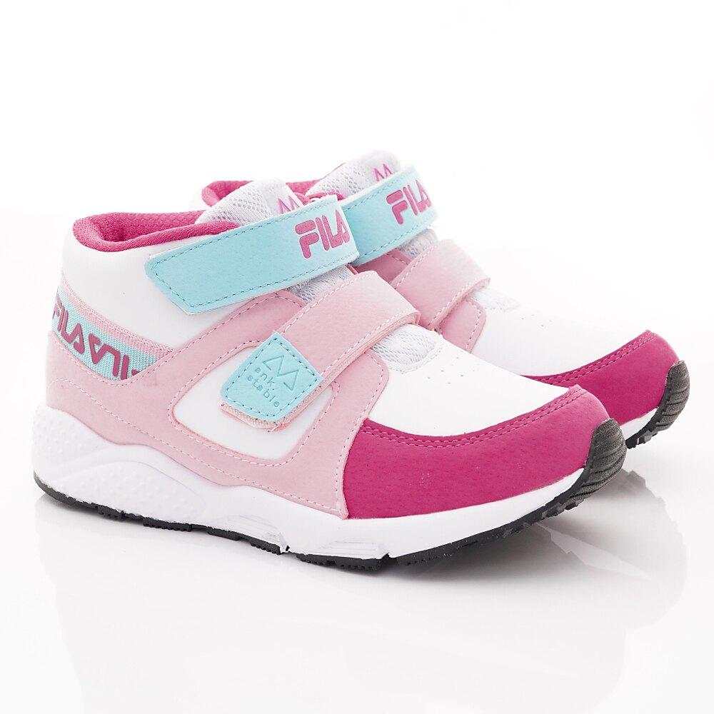 FILA斐樂頂級童鞋-高足弓護踝機能運動鞋款-2-J826T-122桃粉藍(中小童段)