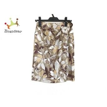 ニジュウサンク 23区 スカート サイズ38 M レディース 美品 ベージュ×ブラウン×マルチ 花柄   スペシャル特価 20200218