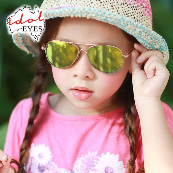 IDOL EYES  澳洲時尚飛行款兒童太陽眼鏡/抗UV-金框