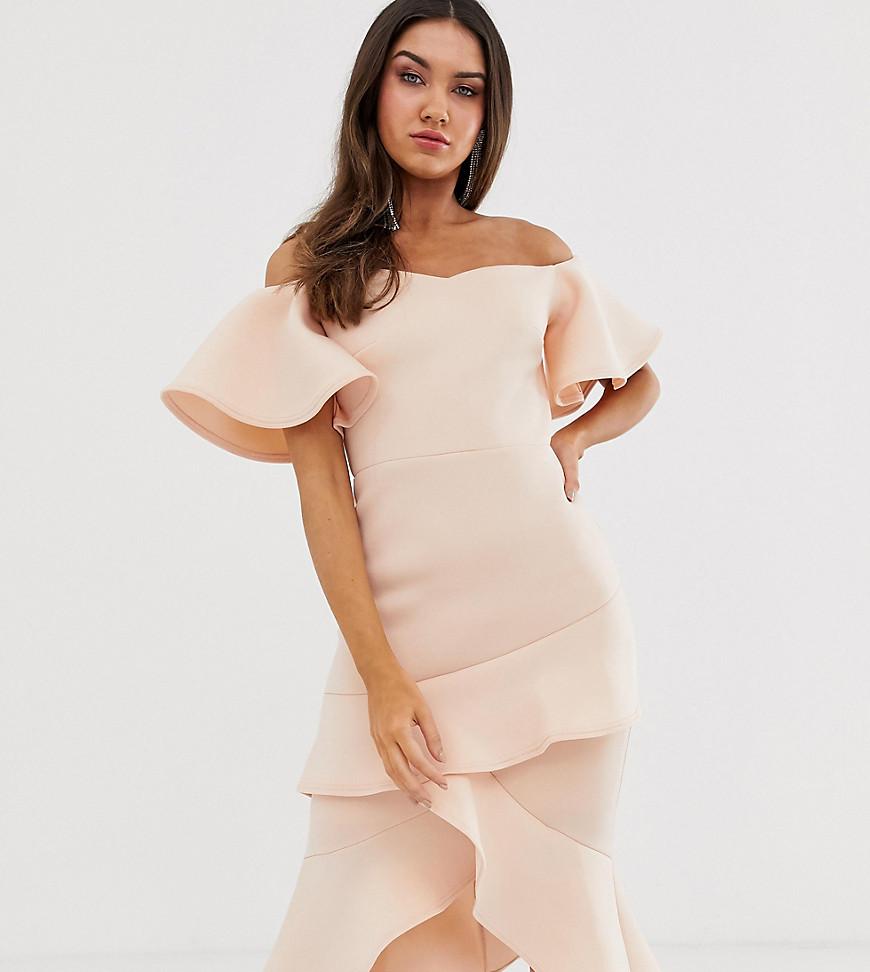 True Violet off the shoulder frill midi bodycon dress-Pink