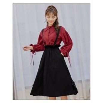 【 M ~ 4XL 】 大きいサイズ レディース ツーピース 長袖 シャツ スカート ドレス 3L 2L 70686