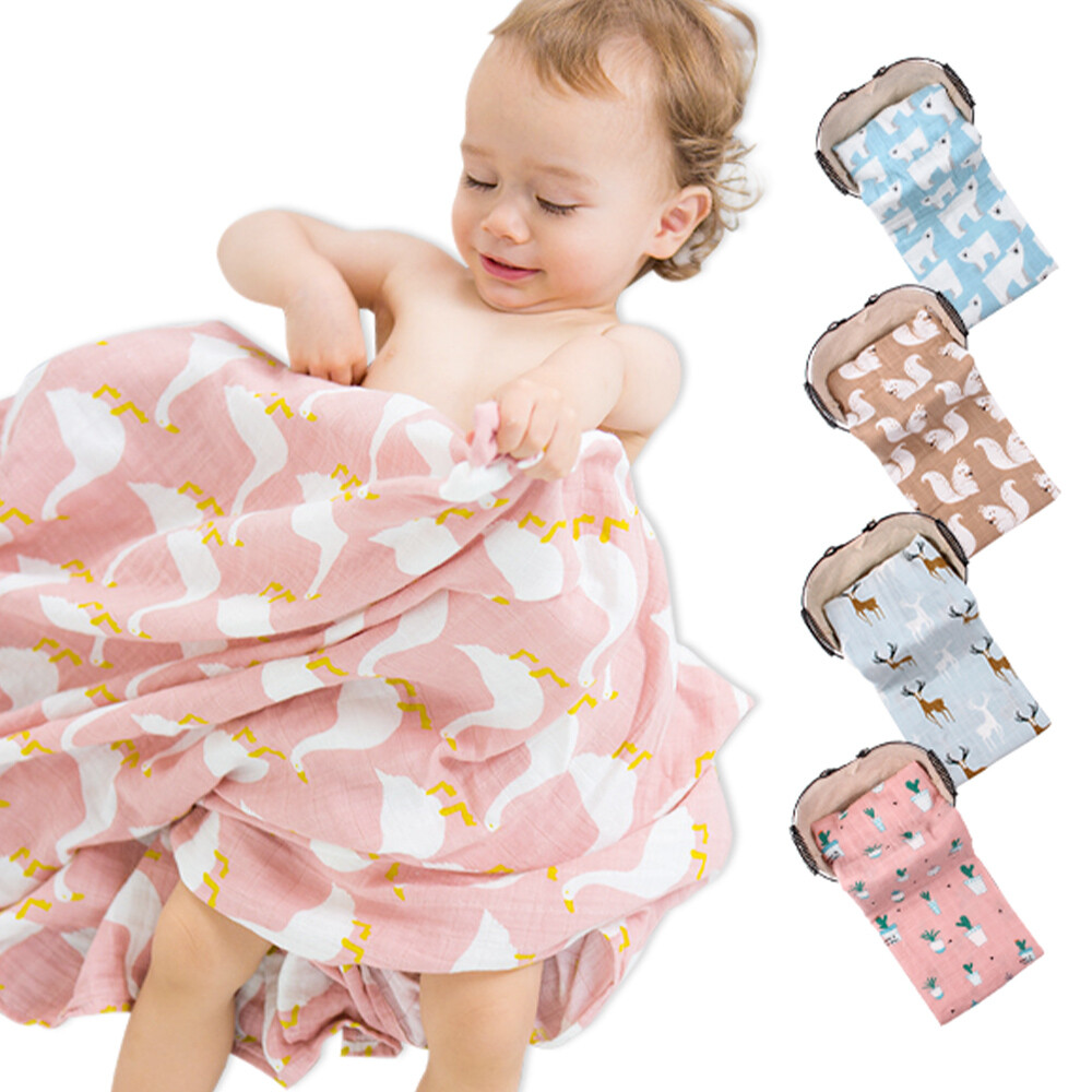 muslintree雙層動物印花嬰兒紗布包巾蓋被浴巾-mt3060c