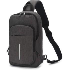 QTMIAO-Bags オックスフォード生地の男性の胸パック大容量のUSBビジネスメンズショルダーメッセンジャーバッグ (Color : Dark Grey)