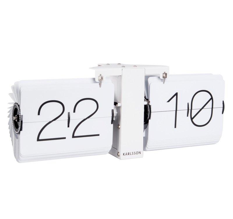 荷蘭Karlsson Flip clock No Case 白色翻頁鐘啞白色座