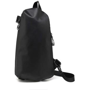 QTMIAO-Bags メンズレトロなミニマリストのショルダーバッグ大容量の野生カジュアルなアウトドアスポーツバッグチェストパック (Color : Black)