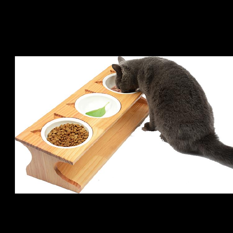 【寵物餐桌】寵物實木餐桌 寵物碗 貓碗架 不鏽鋼碗 陶瓷碗 寵物碗-松木/竹木【AAA1630】