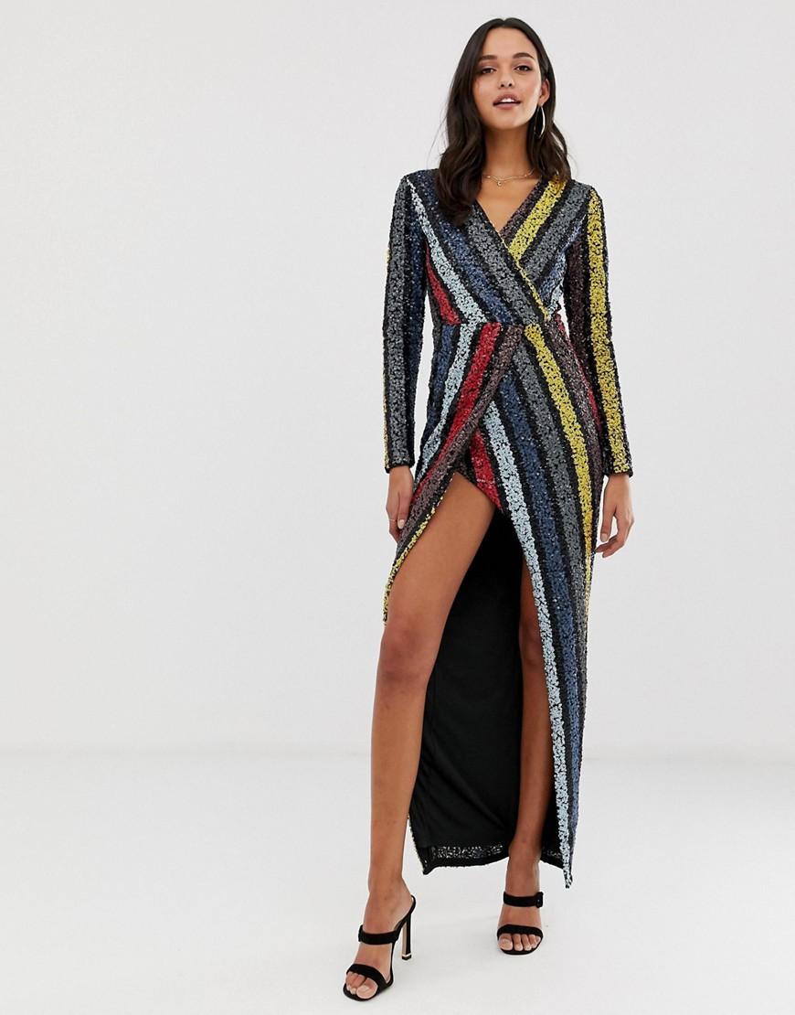 Forever Unique sequin stripe maxi dress-Multi