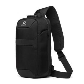 QTMIAO-Bags 男性の胸パックUSB多機能盗難防止ショルダーバッグ防水メッセンジャーバッグ (Color : Black)