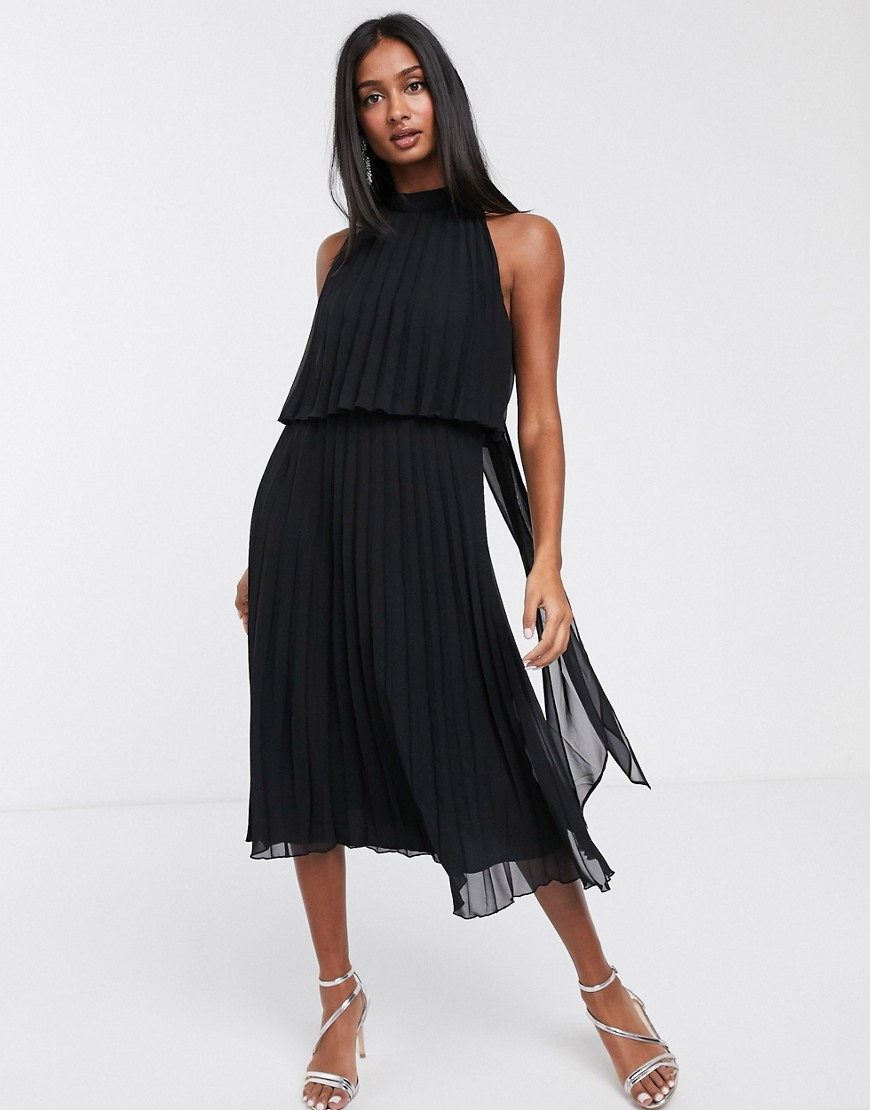 ASOS DESIGN halter tie neck midi dress in pleat-Black