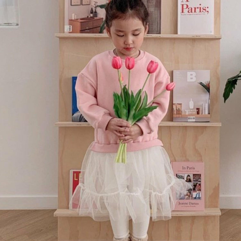 韓國 Daily Bebe - (假兩件)糖果色T+紗裙洋裝-粉紅