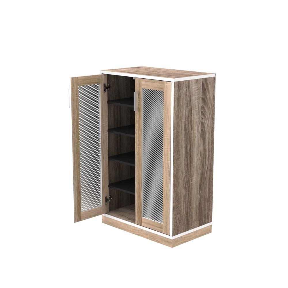(組) 特力屋萊特 組合收納櫃 胡櫃深灰層銀網門橡木腳 60x35x91cm