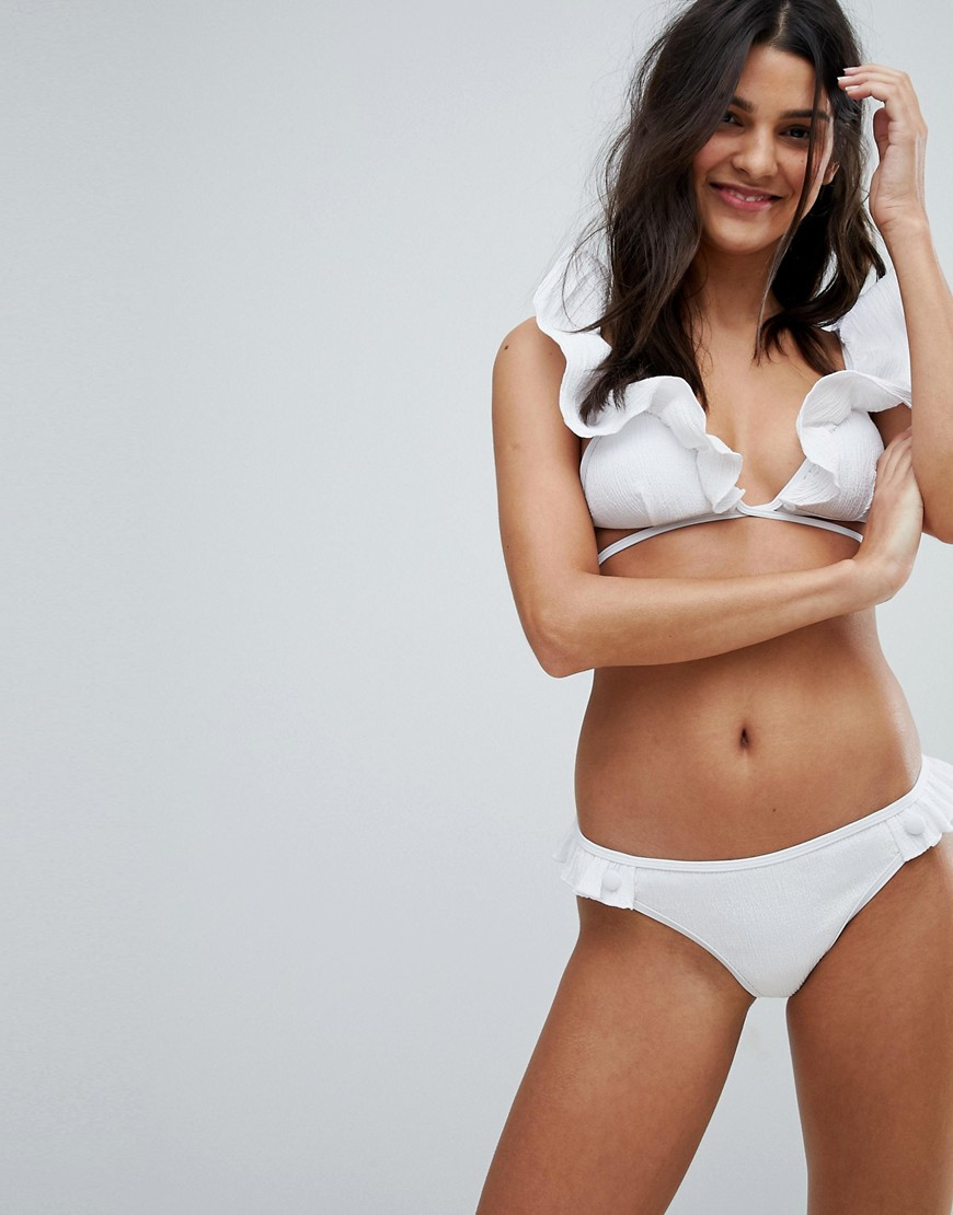 Lost Ink Woven Frill Bikini Bottom-White