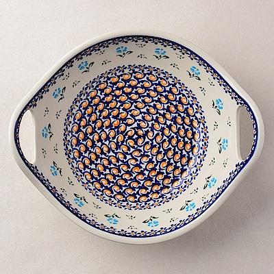 波蘭陶 青藍小花系列 雙耳圓形深餐盤 22cm 波蘭手工製
