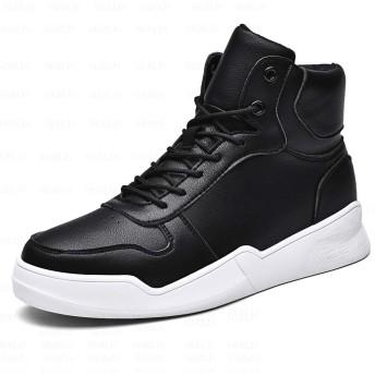 [MERLIN] 7CM UP 身長アップ メンズ バスケットシューズ 背が高くなる靴 ミニカドル 厚底シークレット アウトドア (26, ブラック)