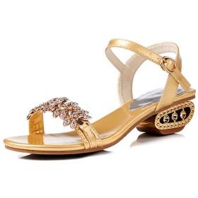 [Bopoli] Sandal for レディーズ Bling ラインストーン Open Toe Square Heel with Buckle ファッション 夏 レディース ブーツ