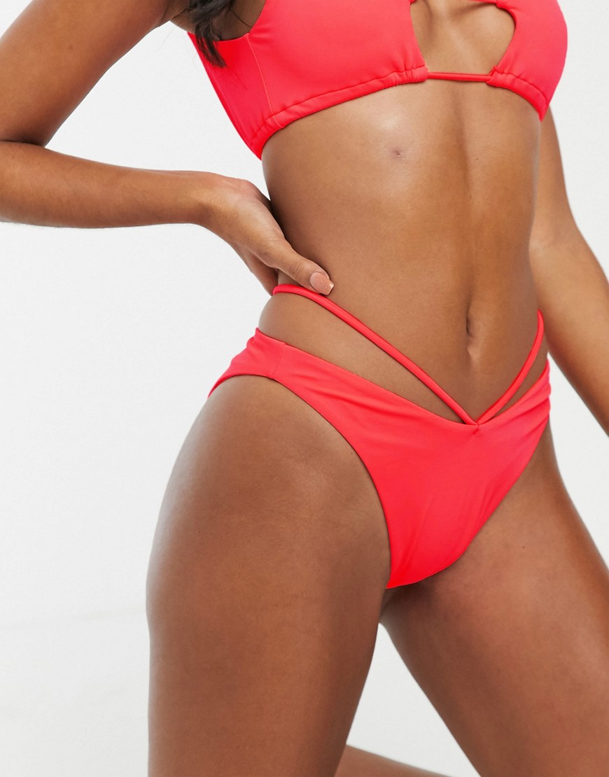 ASOS DESIGN high leg lattice high leg hipster bikini bottom in watermelon-Pink