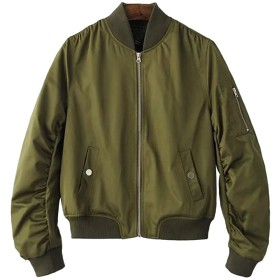 Blissmall MA-1 ブルゾン レディース ma1 ミリタリージャケット フライトジャケット 綿 薄手 カジュアル 春秋のコート 楽しく選べる全10色 BB10 (S, アーミーグリーン)