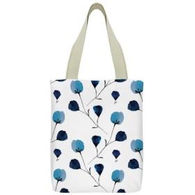 ブルー 花 可愛 キャンバス トートバッグ 手提げバッグ ハンドバッグ レディース ショルダーバッグ 大容量 通勤通学 両面印刷
