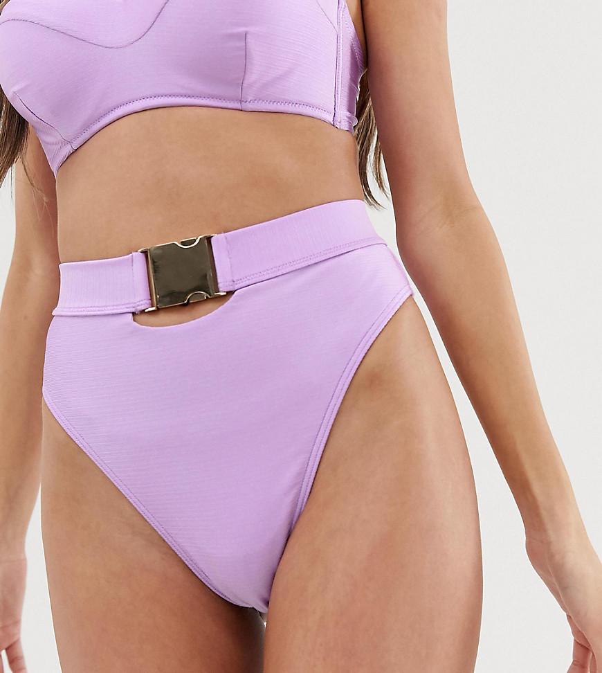 Wolf & Whistle Exclusive shiny high leg bikini bottom in lavender-Purple