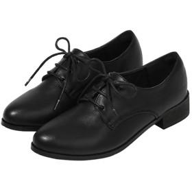 [Yj6x] オックスフォードシューズ ブラック レディース おじ靴 幅広 ローファー レディース 厚底 スニーカー 大人 25.5cm レースアップ 学生 女子 歩きやすい マニッシュシューズ カジュアルシューズ ハンサムシューズ おしゃれ 靴