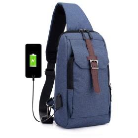 QTMIAO-Bags メンズチェストバッグメッセンジャーバッグポリエステル柔らかいパンバッグアウトドア旅行スポーツショルダーバッグ (Color : Blue)