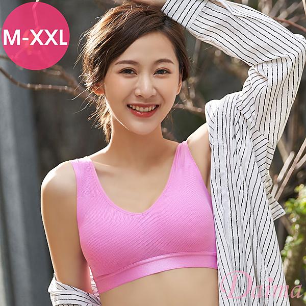 (M-XXL)時尚運動蜂巢無痕透氣V領後扣背心式內衣_淺紫紅【Daima黛瑪】