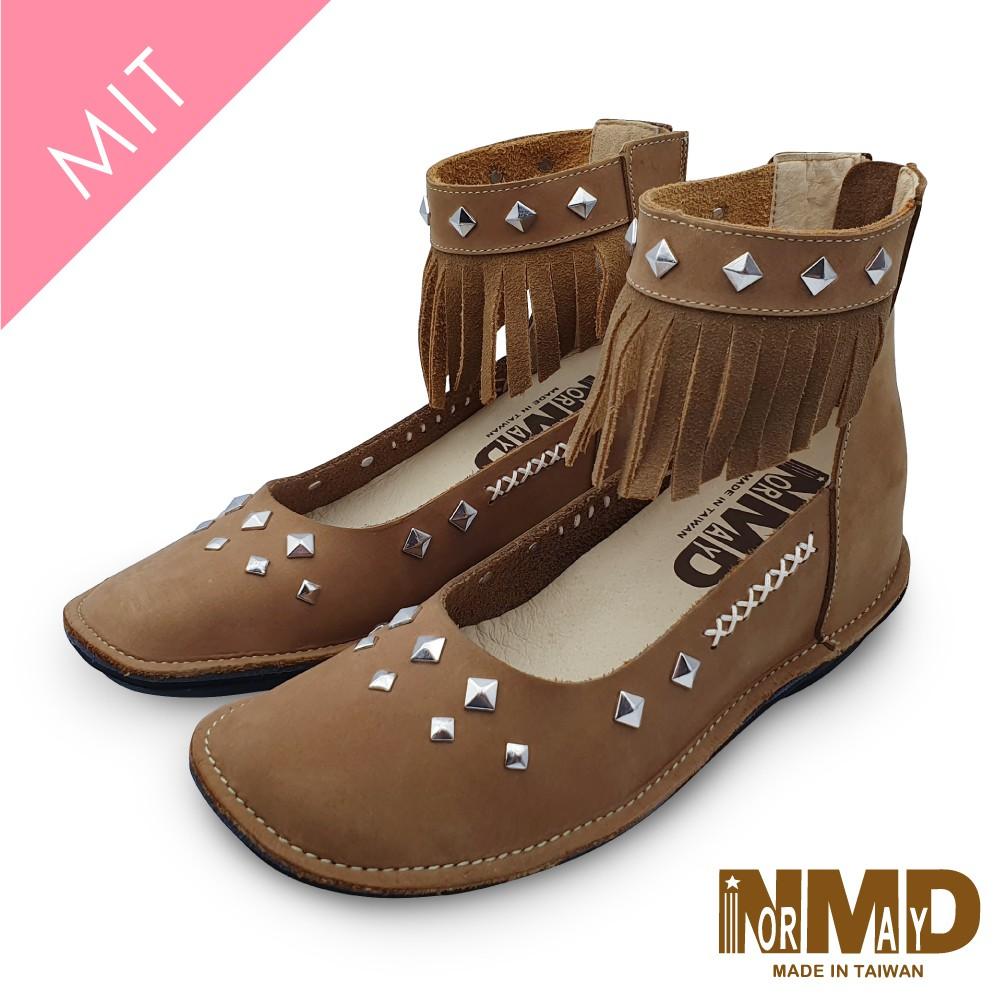 諾曼地Normady 女鞋 裸靴 真皮靴 個性流蘇鉚釘磁力厚底內增高短靴(栗子黃)