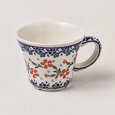 波蘭陶 藍印紅花系列 寬口茶杯 240 ml 波蘭手工製