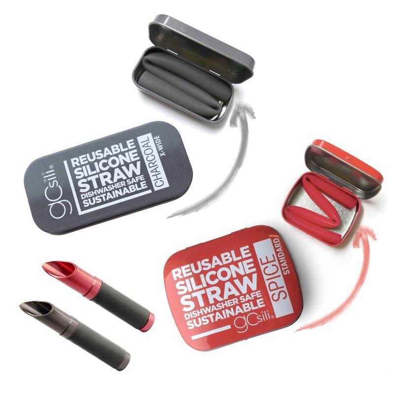 美國gosili環保矽膠吸管-口袋組+切口器- 2組入- 紅灰拍檔