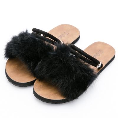 River&Moon毛毛鞋-時尚奢華皮草2way寬版Q軟涼拖 黑