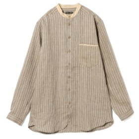 International Gallery BEAMS FRANK LEDER / 2トーン リネンシャツ メンズ カジュアルシャツ BEIGExGREY S