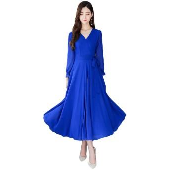 チーアン Tiann ドレス レディース ワンピース Vネック 無地 フォーマルドレス パーティードレス 結婚式ドレス 演奏会 お呼ばれ 二次会 ブルー XXXL
